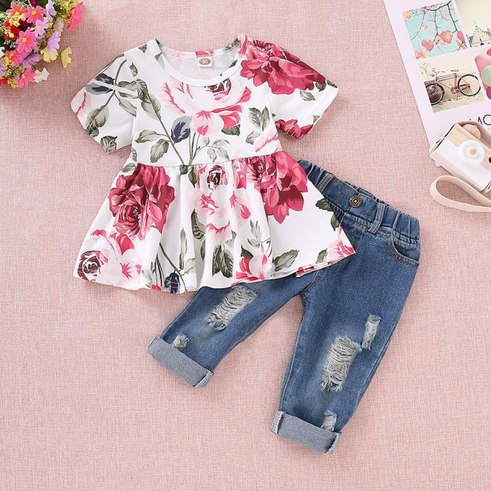T-shirts de culture floraux pour bébés + pantalons en denim à trous Ensembles de vêtements pour enfants Jean Toddler