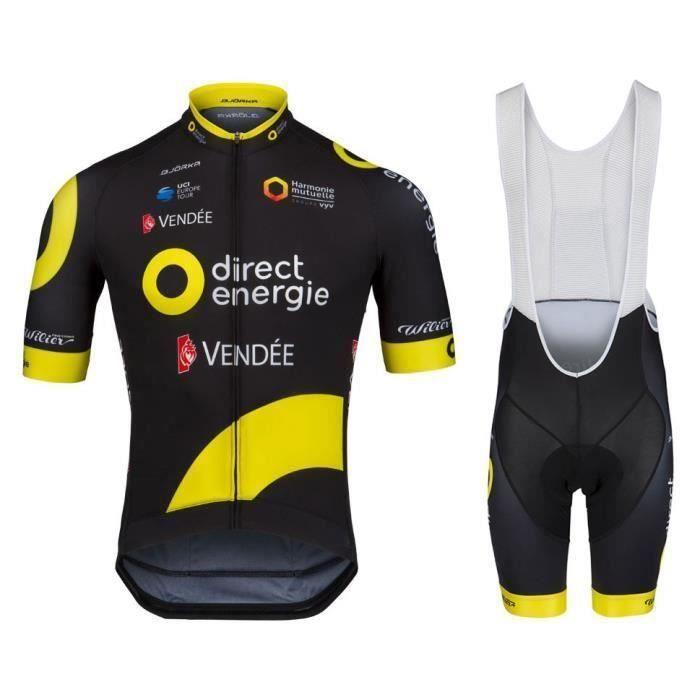 Direct Energie Maillot de Cyclisme Manches Courtes le Tour de France Team Pro + Cuissard VTT Homme Bib Shorts Tenue de Vélo