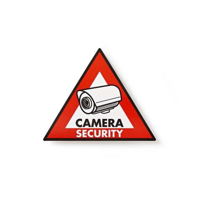 NEDIS Autocollant d'Avertissement - Symbole de Vidéosurveillance - Jeu de 5 pièces