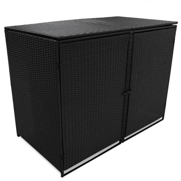 Haute qualité Abris pour poubelle double Résine tressée Noir 148x80x111 cm