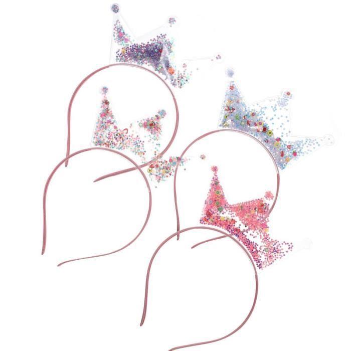 4pcs Crown Bandeaux Heads Accessoires pour Courtiers à paillettes Hair pince - barrette - chouchou - elastique capillaire