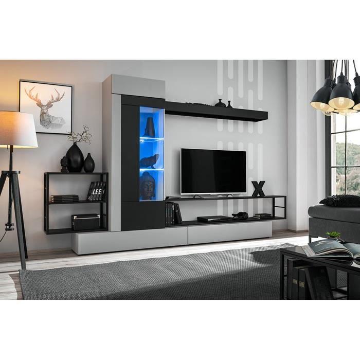 Ensemble salon GROOVE. Composition TV murale coloris Gris et noir mat. LED incluses. 300