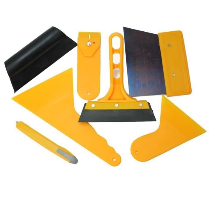 7 en 1 Kit d'installation de film protection solaire et raclette lame grattoir pour vitres de voiture véhicule