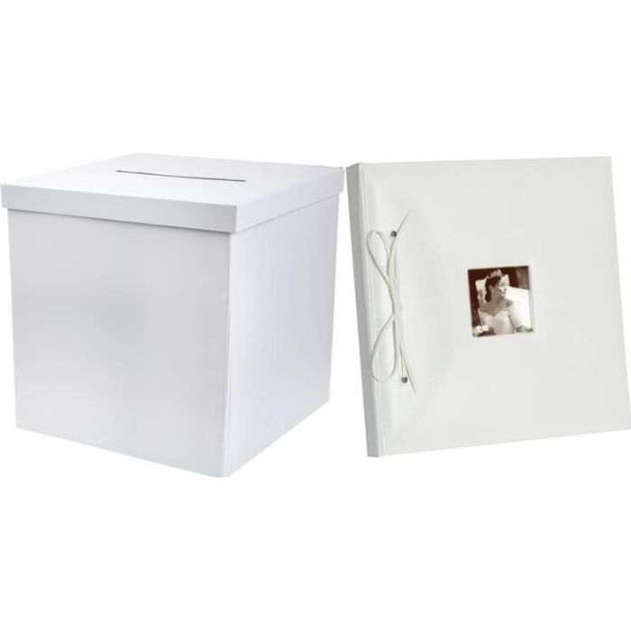 R/2909-2911- 1 Pack mariage avec urne carrée et livre d'or blanc