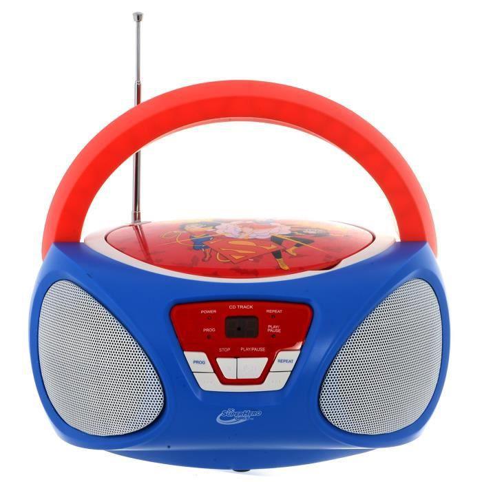 SUPER HERO GIRLS Boombox CR1-02393 - Radio-réveil et lecteur CD - Bleu et rouge