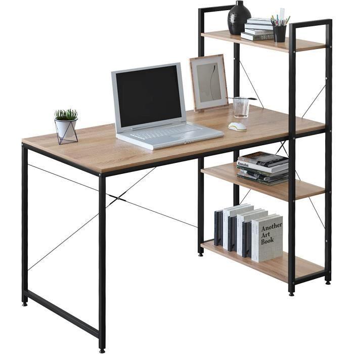 WOLTU Table de bureau en bois et acier - 1 étagère - Noir et chêne clair - 120 x 64 x 120 cm