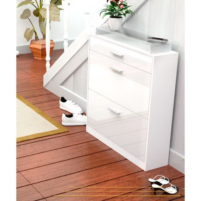 range chaussures laqu blanc 16 paires 89 cm achat. Black Bedroom Furniture Sets. Home Design Ideas