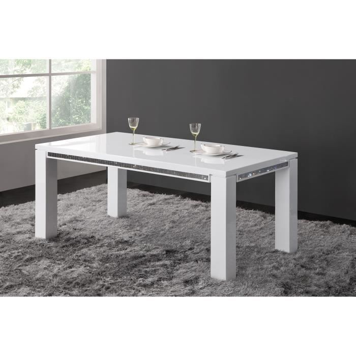 table manger 180 cm design blanc laqu avec strass achat vente table manger compl te. Black Bedroom Furniture Sets. Home Design Ideas