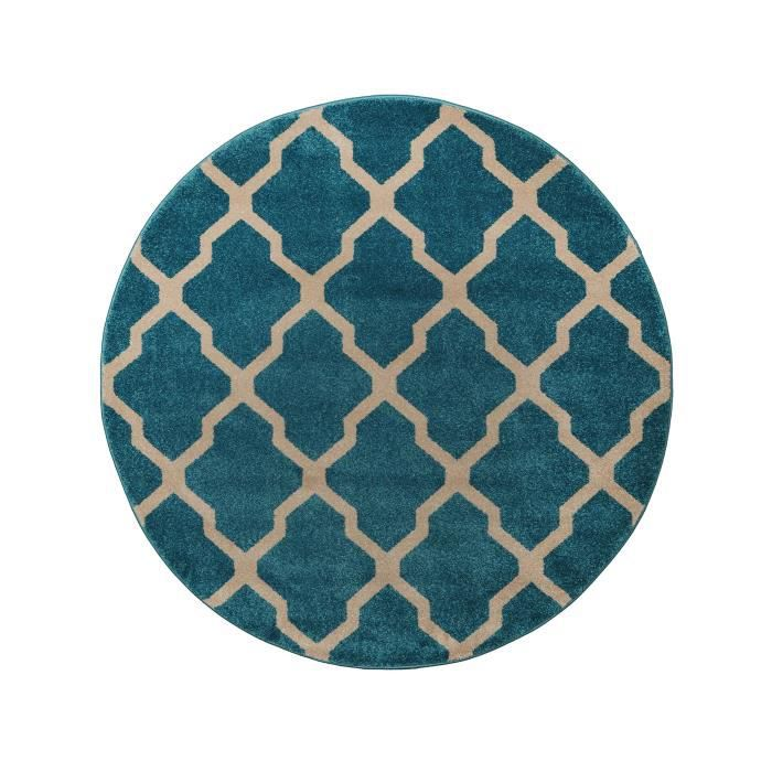 benuta tapis rond lotus bleu 160 cm rond achat vente tapis cdiscount. Black Bedroom Furniture Sets. Home Design Ideas