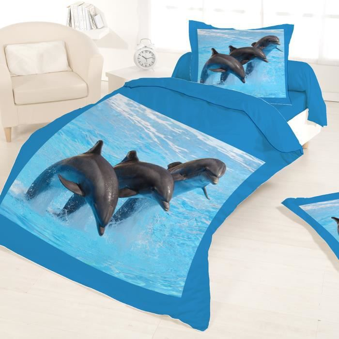 Housse de couette 140x200 dauphins 1 taie achat for Housse couette 140x200
