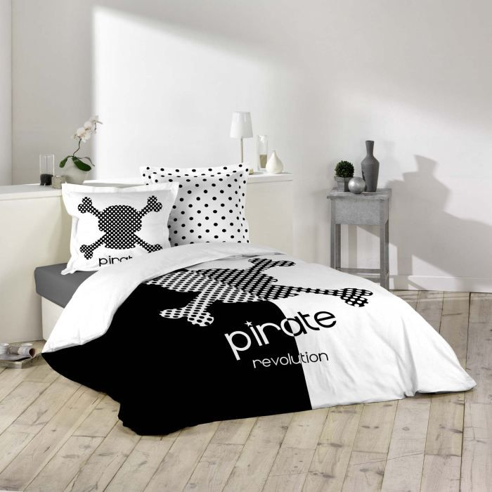 parure de lit 100 coton 220x240 pirate achat vente parure de couette soldes d t cdiscount. Black Bedroom Furniture Sets. Home Design Ideas