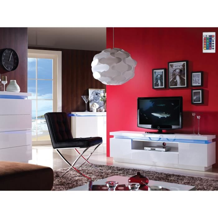 meuble tv sylia 165 x 40 x 49 cm en mdf blanc laqu avec. Black Bedroom Furniture Sets. Home Design Ideas
