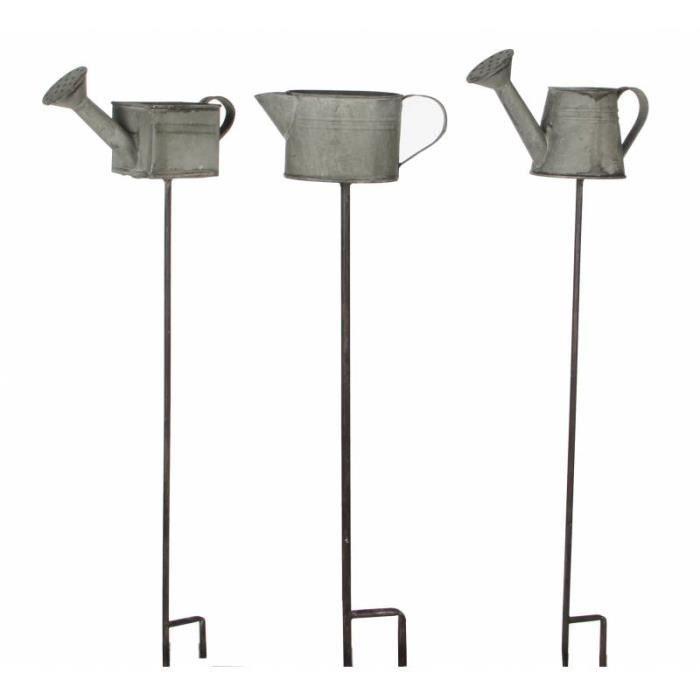 LH/éritier Du Temps Lot de 3 Tuteurs de Jardin Pics de Potager D/écoratifs Motifs Arrosoirs sur Tige en Fer Gris et Noir 8x8x56cm