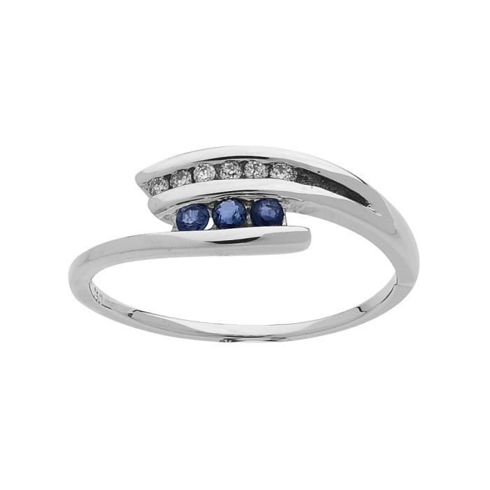 DIAMANTLY Bague saphirs 2,2mm diamants 0,06ct or gris 750/1000