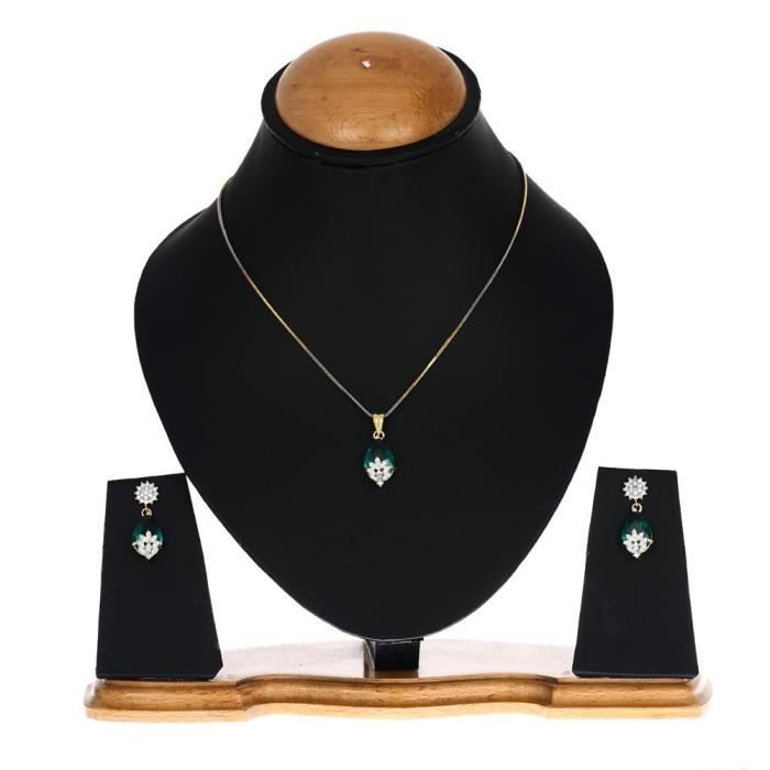 Womens American Diamond Gold Plated Pendant Set With Earring For -V5IWV