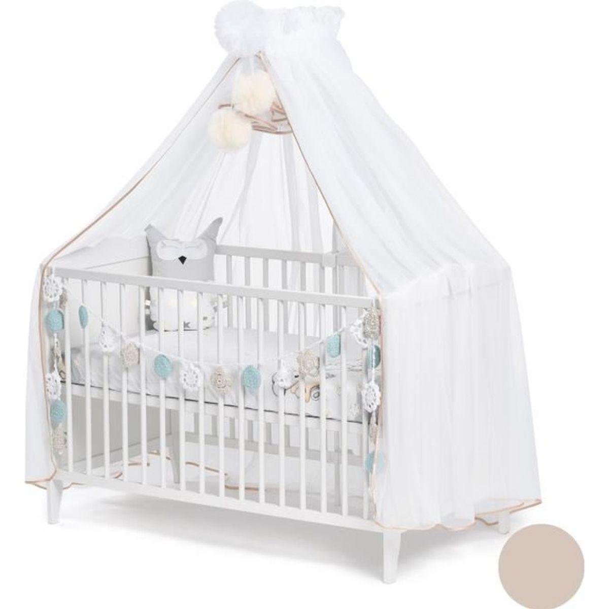 Ciel de lit en tissu Prince Princesse gris anthracite Fabrication europ/éenne
