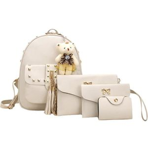 SAC À DOS 4 Sets femmes fille ours animaux houppe Sac à dos