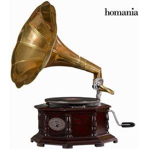 PLATINE VINYLE Gramophone en octogone laiton - Bois d acacia lect