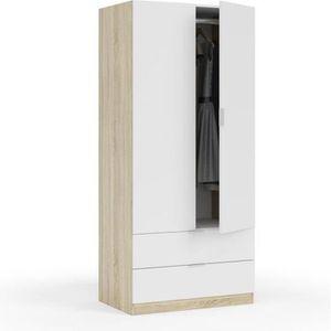 ARMOIRE DE CHAMBRE Armoire 2 portes et 2 tiroirs nordik 52 cm Multico