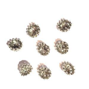 10 Coupelles fleurs argenté antique 6x6mm