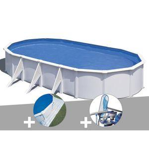 PISCINE Kit piscine acier blanc Gré Wet ovale 7,44 x 3,99