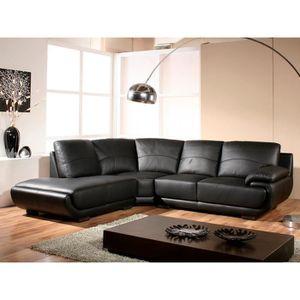 CANAPÉ - SOFA - DIVAN Canapé d'angle gauche en cuir prestige noir MOZART
