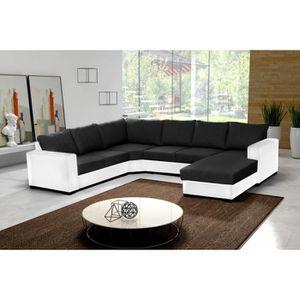 CANAPÉ - SOFA - DIVAN Canapé d'angle 6 places OARA en U noir et blanc ti