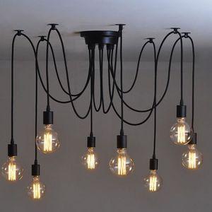 LUSTRE ET SUSPENSION ONEVER Lustre à 8 ampoules E27 - Rétro vintage - S