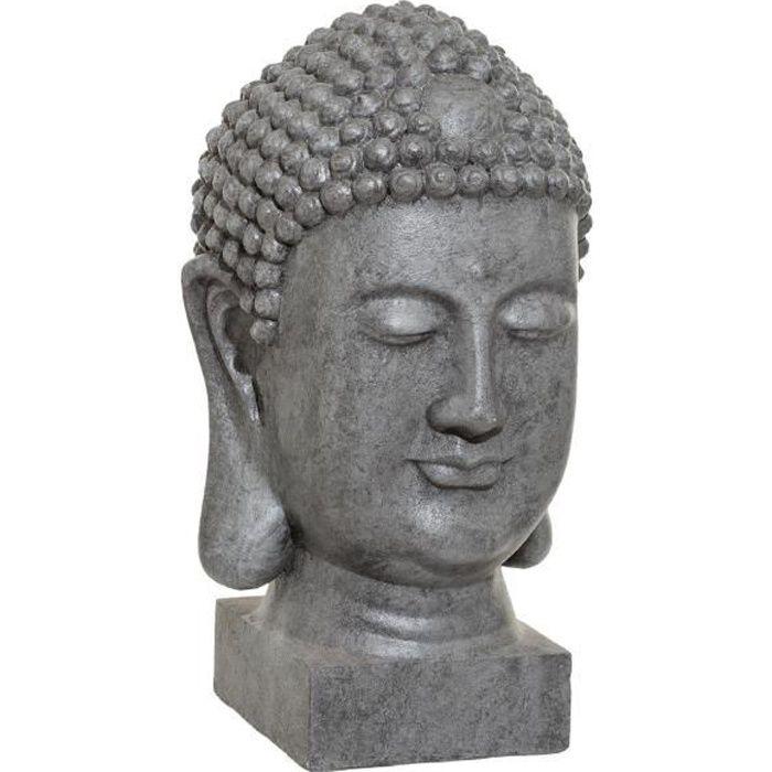 Atmosphera - Objet décoratif Tête de Bouddha grise pour extérieur ou intérieur H 51 cm Gris