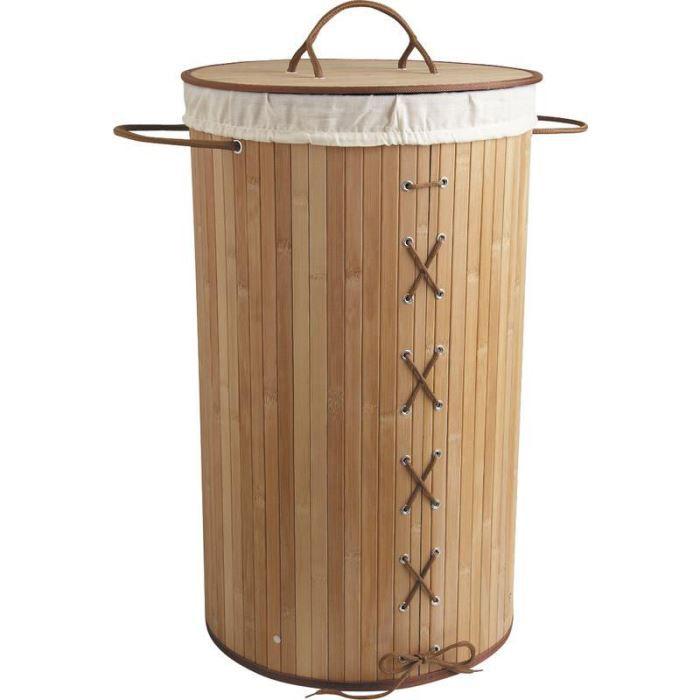 Panier à linge corset en bambou naturel 35x60cm