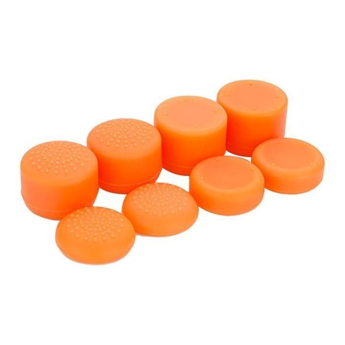 Orange Capuchons en silicone anti-dérapant casquettes de joystick pour PS4 Pro Slim Controller & Stick Grip