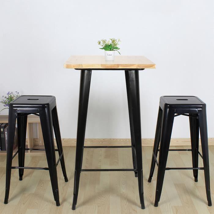 FIRNOSE Table de Bistro Table Haute de Bar Table à manger - Style industriel - Intérieur et Extérieur 60x 60 x 110 cm Noir/Chêne