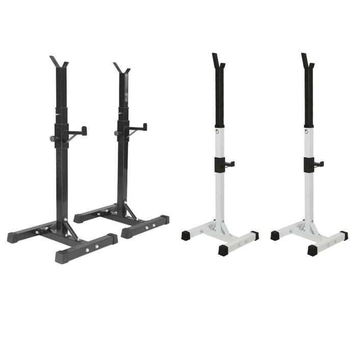 Sport Support réglable en Hauteur pour Haltères Rack Musculation Repose Barre Multifonctionnel, Blanc