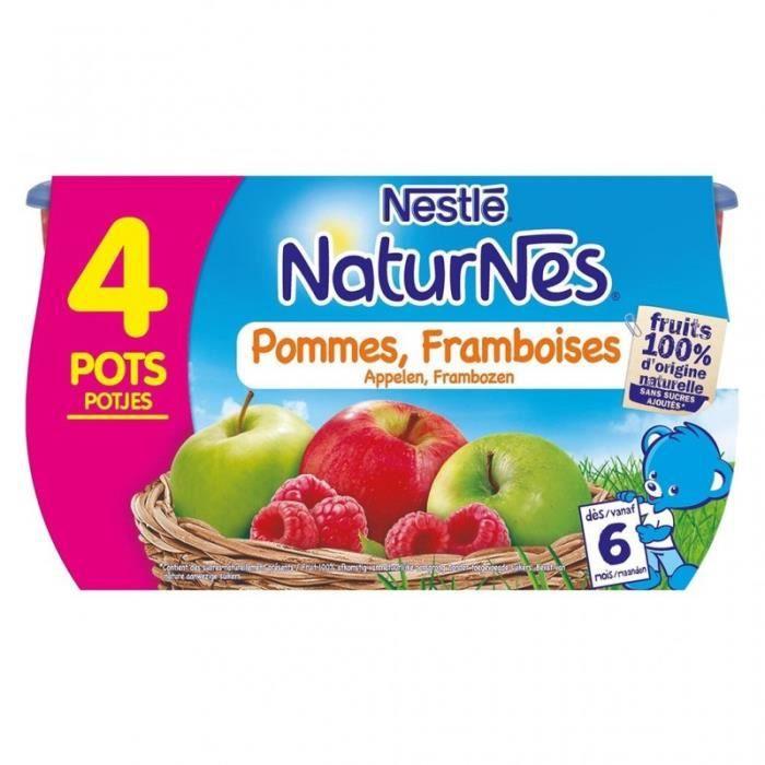 Nestlé Naturnes Pommes Framboises (dès 6 mois) par 4 pots de 130g (lot de 6 soit 24 pots)