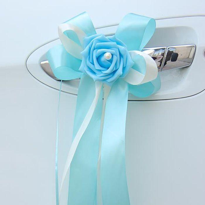 Lot de 6 nœuds ruban satin à double couleur avec fleur décorée d'une perle nacrée - décoration tulle voiture de mariés mariage