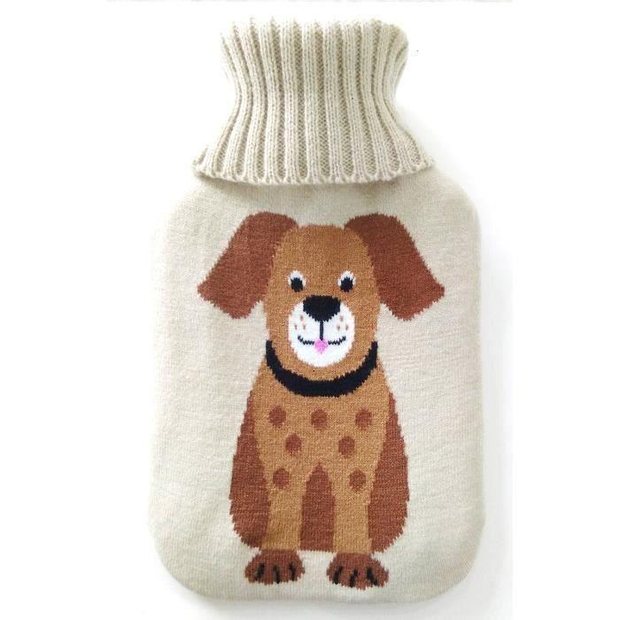 Bouillotte - 2 Litres - Housse tricotée - Motif chien - GH023 St Helens Home and Garden