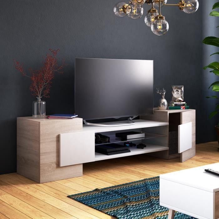 Meuble TV / Meuble de salon - GAELIN - 160 cm - effet chêne / blanc - sans LED - style contemporain - design moderne