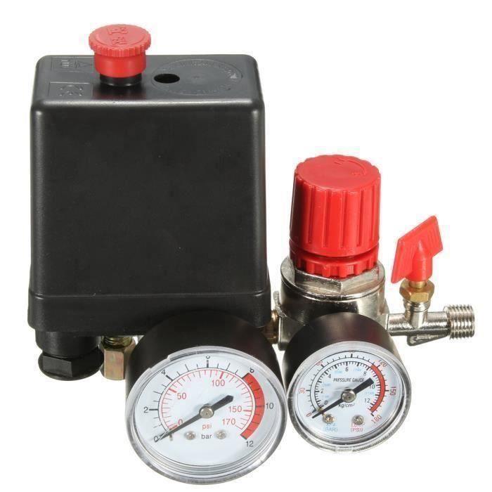Compresseur d 'air Mini Régulateur 240V 15A Contrôle Interrupteur Vanne Pression Avec Jauge