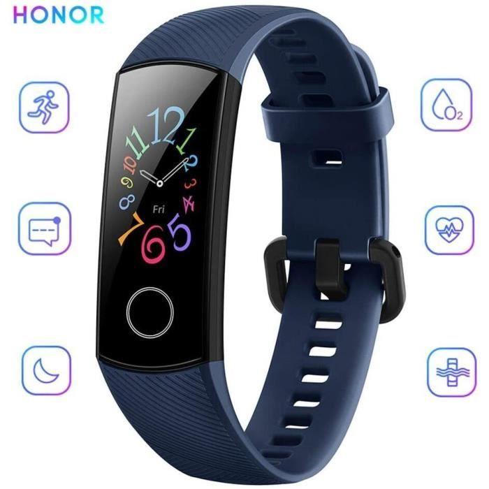 Bracelet Connectée HONOR Band 5 pour Femme Homme Avec 5ATM Imperméable À l'eau pour Android iOS- Bleu