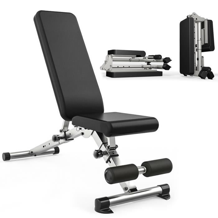 Banc de Musculation Multifonction Mixte pour Abdominaux Dorsaux Réglable Pliable Inclinable - Charge max 300kg