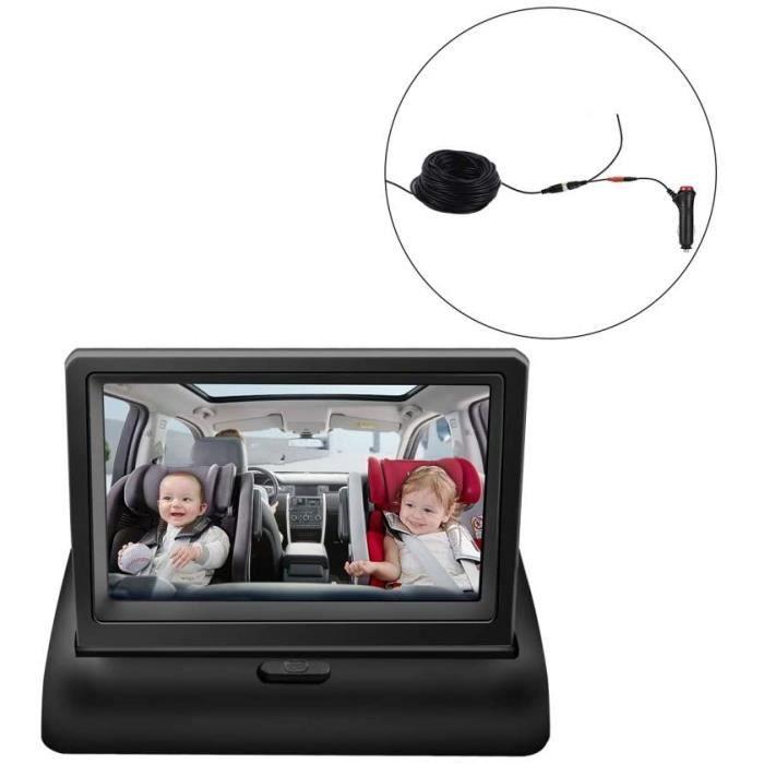 Caméra Voiture Bébé Siège Arrière, Miroir de Voiture Bébé 4.3 Pouces HD Vision Nocturne Affichage de Miroir de Voiture Siège de ,237
