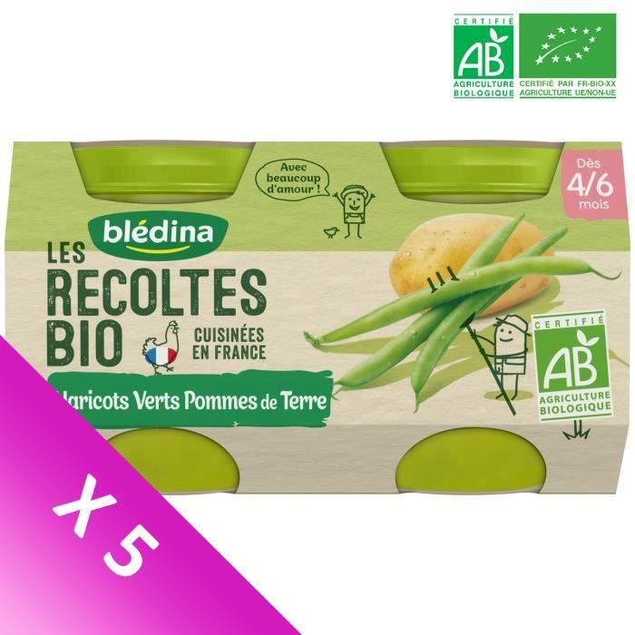 Blédina Les Récoltes Bio, Petits pots pour bébé bio - Dès 4/6 mois - Haricots verts, Pommes de terre - Lot de 5 x 260 g