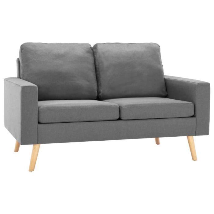 Canapé à 2 places Gris clair Tissu -ROE