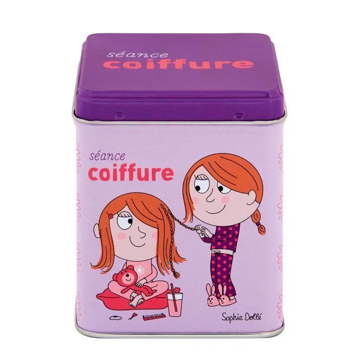 Petite Boite à Barrettes SÉANCE DE COIFFURE - Rangement Accessoires Cheveux Idée Cadeau Original pour Fille - DLP Derrière La Porte