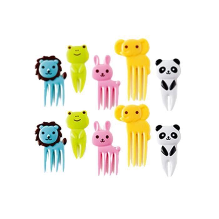 10pcs fruits fourchettes animaux de bande dessinée en mini-nourriture pique mignonne salade PICS APERITIF NON