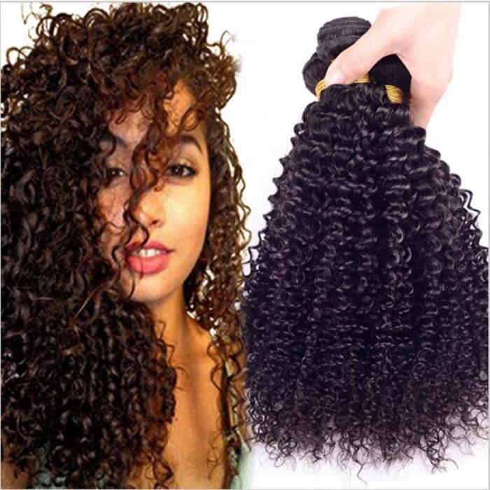 """LOT 3 TISSAGE Brésilien Jerry Curly HUMAIN HAIR LISSE 30""""32""""34""""POUCES"""