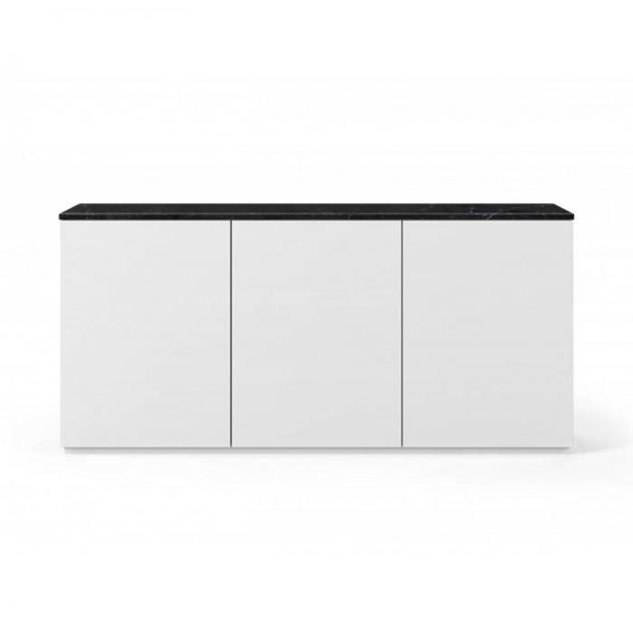 Buffet WHITY blanc mat 180cm 3 portes Plateau en Marbre noir noir Marbre Inside75