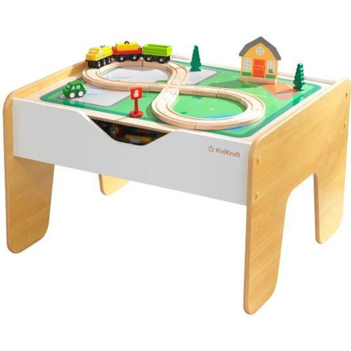KIDKRAFT - Table en bois 2 en 1 circuit train et briques de construction - 200 briques - comptatible avec LEGO® et Brio®