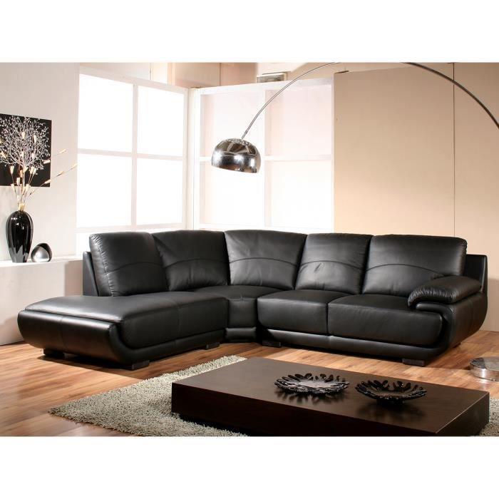 Canapé d'angle gauche en cuir prestige noir MOZART