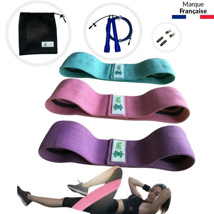 LIPPIA® PACK Bandes tissu élastique Fitness antidérapant rose-violet-vert / 3 niveaux de résistance / une corde à saute Noir